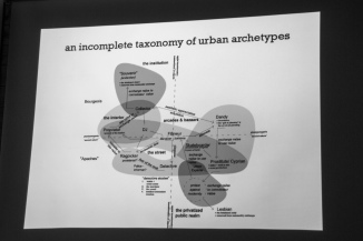 "Talk: Sebastian Messer ""An Incomplete Taxonomy of Urban Archetypes"". Photo: Zane Cerpina. Photo: Zane Cerpina."